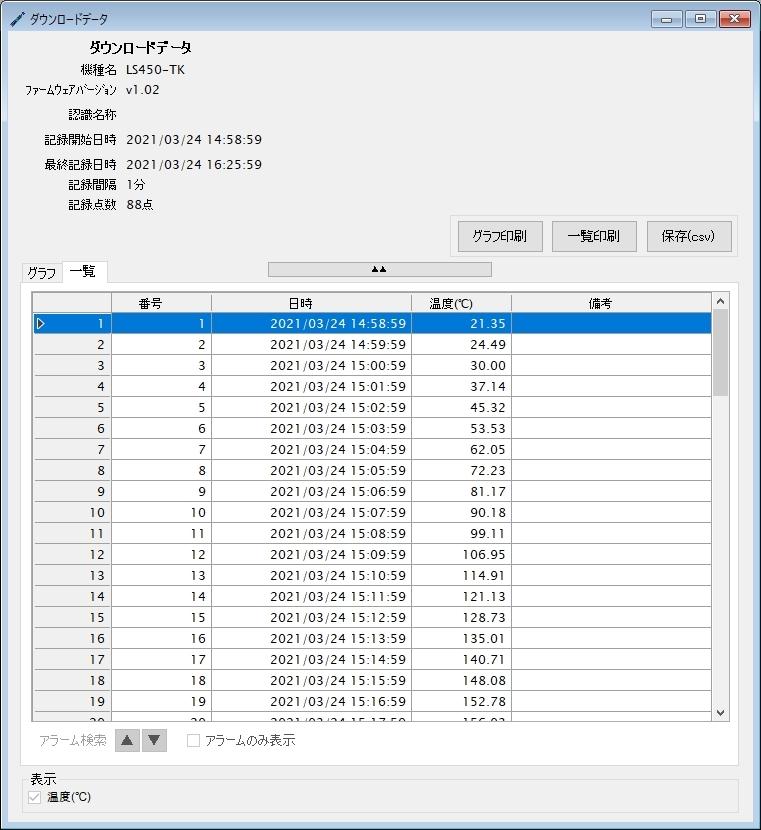 温度データロガー LS450-T(K)_ダウンロードデータ一覧